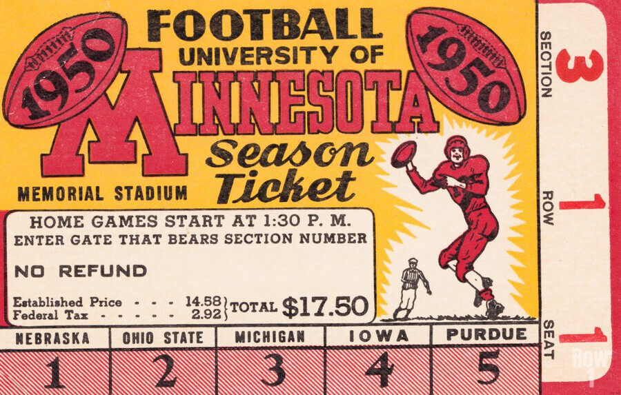 1950 University of Minnesota Season Ticket  Print