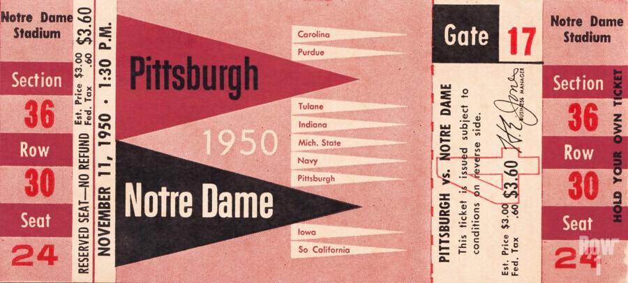 1950 pittsburgh notre dame vintage college football ticket wall art  Print
