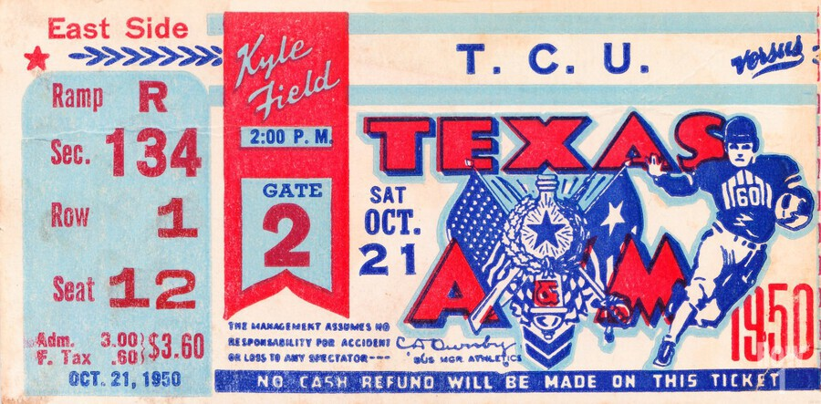1950 texas am aggies tcu football ticket stub art kyle field college station  Print