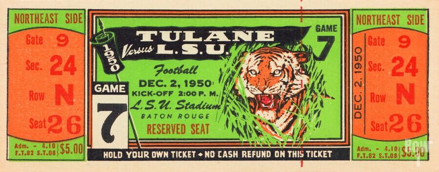 1950 tulane lsu tigers college football ticket sports art gifts baton rouge la  Print