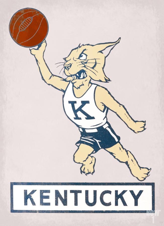 Vintage Kentucky Wildcat Basketball Art  Print