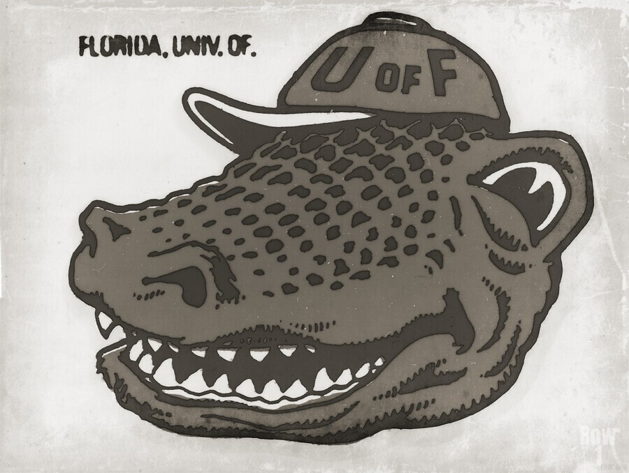 Vintage Florida Gator Art Reproduction Print Black and White  Print