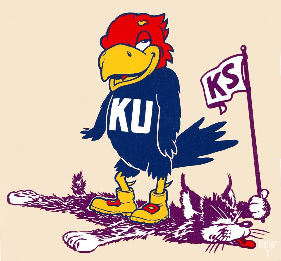 Vintage Kansas Jayhawk Standing Over K-State Wildcat Art  Print