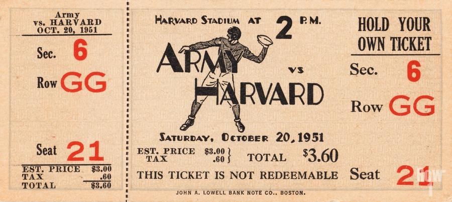 1951 Army vs. Harvard Football Ticket Art  Print