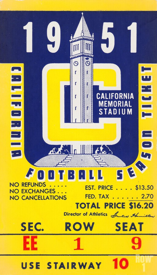 1951 college football season ticket cal bears row 1  Print