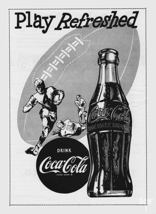 1952 Vintage Coke Football Ad Poster  Print