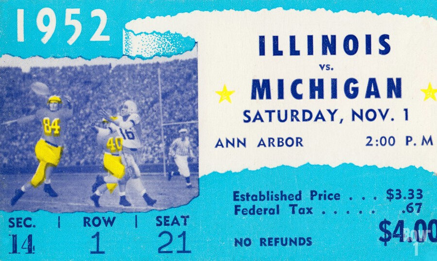 1952 Illinois vs. Michigan Football Ticket Stub Art  Print