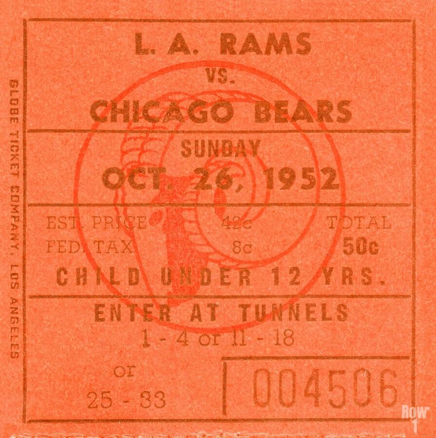 1952 la rams chicago bears nfl ticket art wood print  Print
