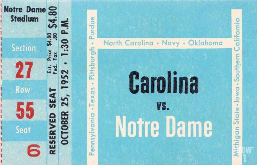 1952 north carolina tar heels notre dame irish college football sports ticket art south bend indiana  Print
