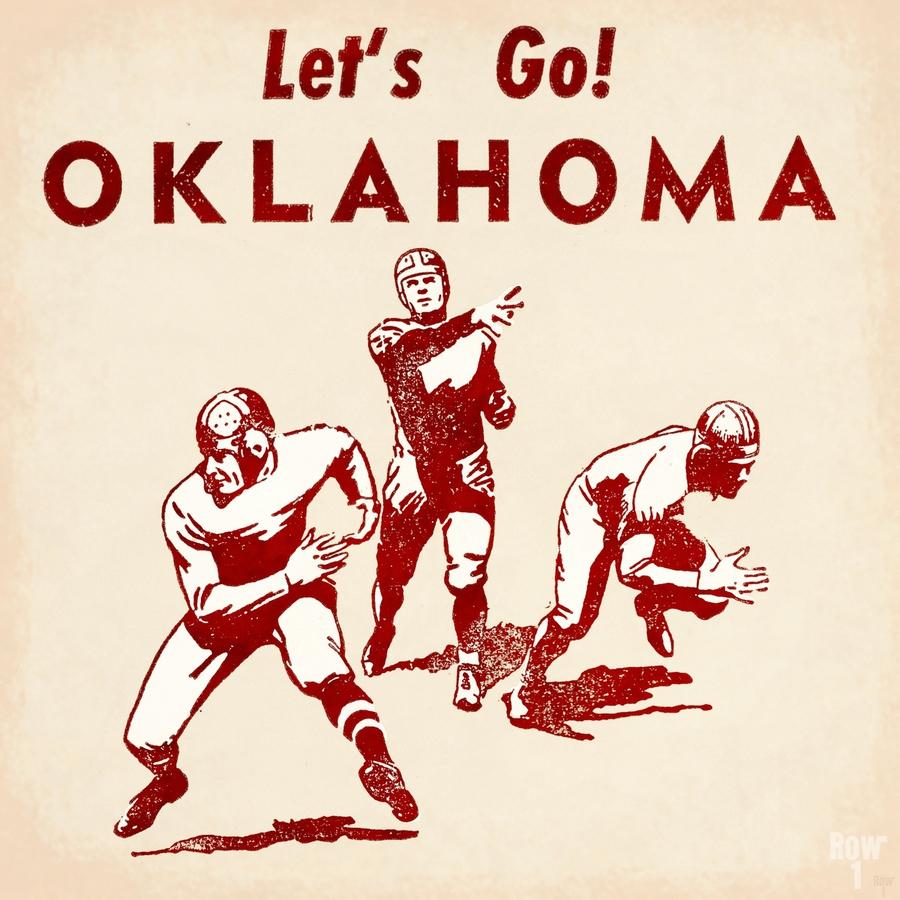 1952 Vintage Oklahoma Football Art  Print