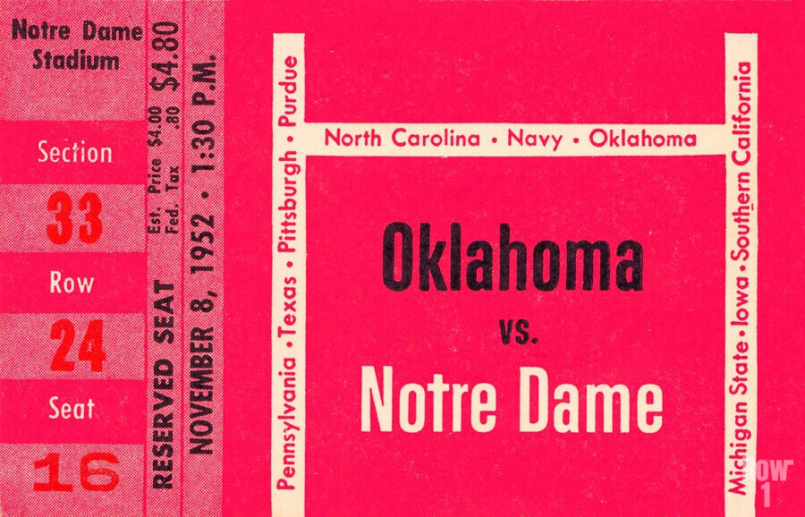 1952 Oklahoma vs. Notre Dame 1st National TV Game  Print