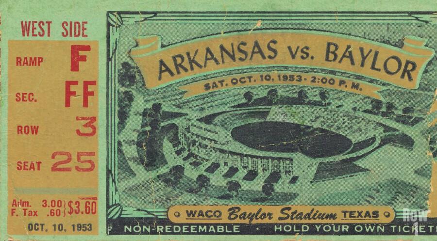 1953 arkansas baylor football ticket wall art  Print