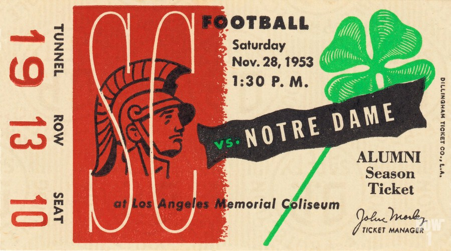 1953 usc notre dame football ticket stub print poster vintage metal sports tickets row 1  Print