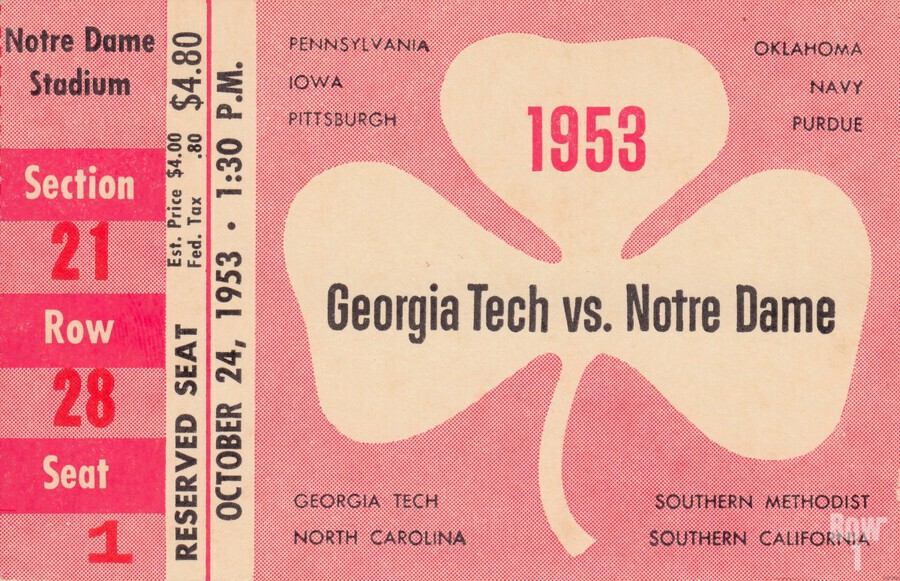 1953_College_Football_Notre Dame vs. Georgia Tech_Notre Dame Stadium_College Ticket Collection Art (1)  Print