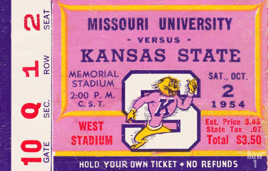 1954 Missouri Tigers vs. Kansas State Wildcats Ticket Stub Art  Print