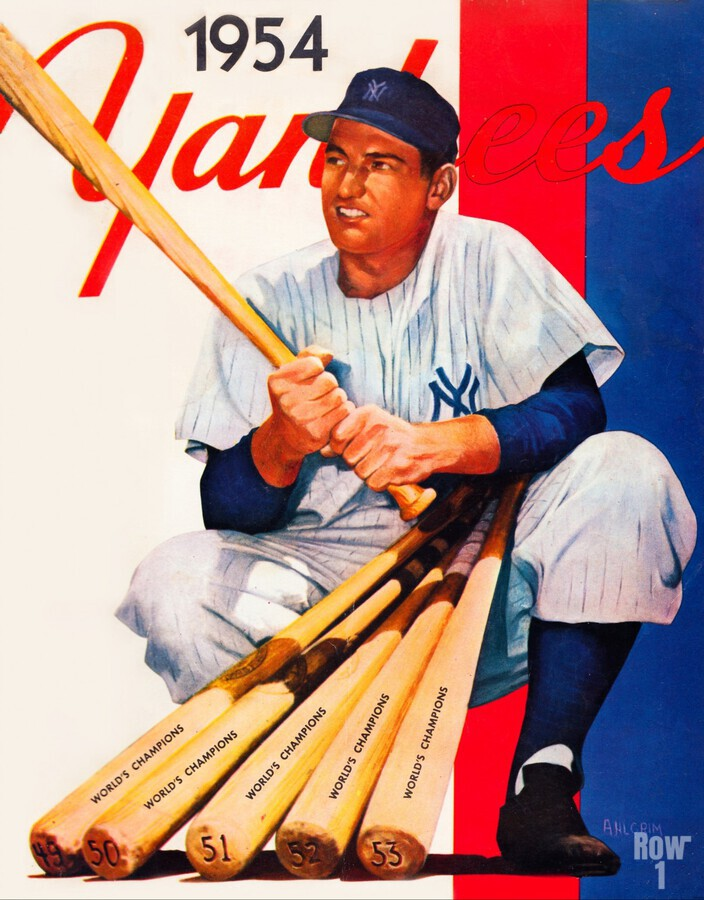 1954 new york yankees vintage baseball art  Print