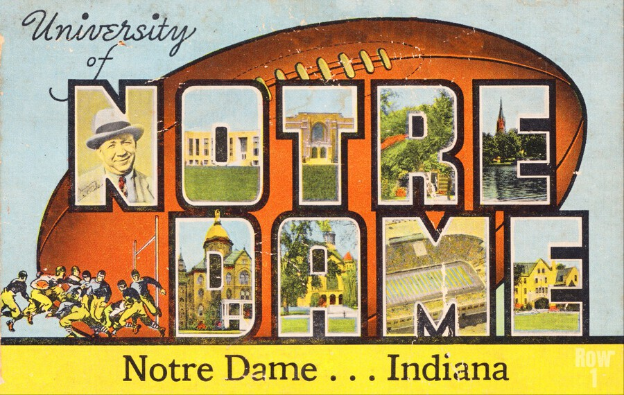 1954 notre dame football south bend art  Print