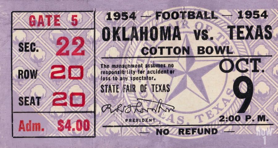 1954 Oklahoma Sooners vs. Texas Longhorns  Print