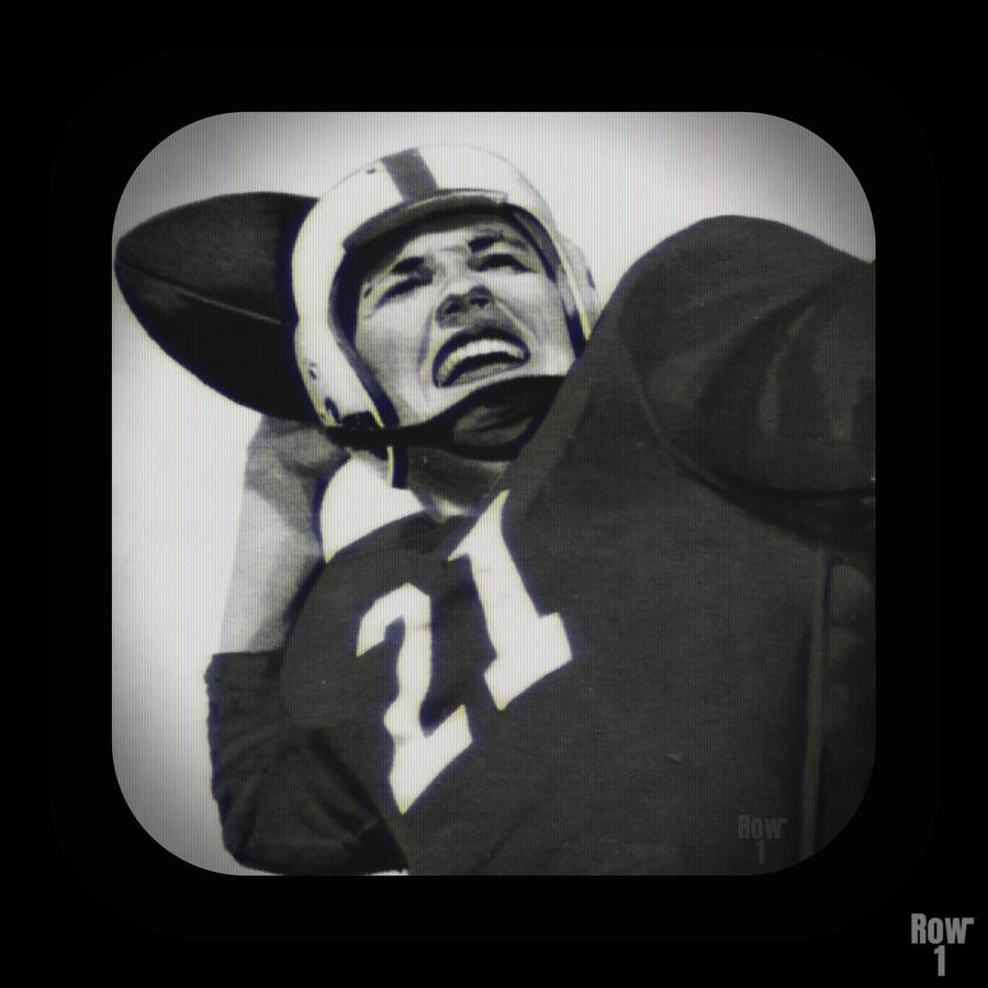 1954 Vintage Television Set Football Quarterback Art  Print