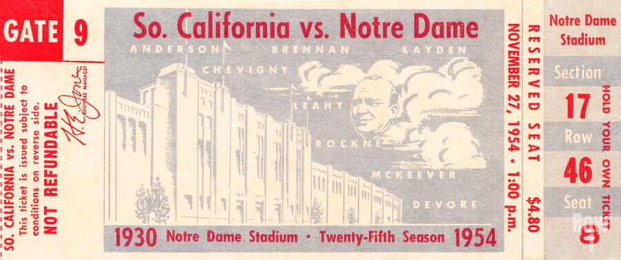 1954 usc notre dame irish college football  Print