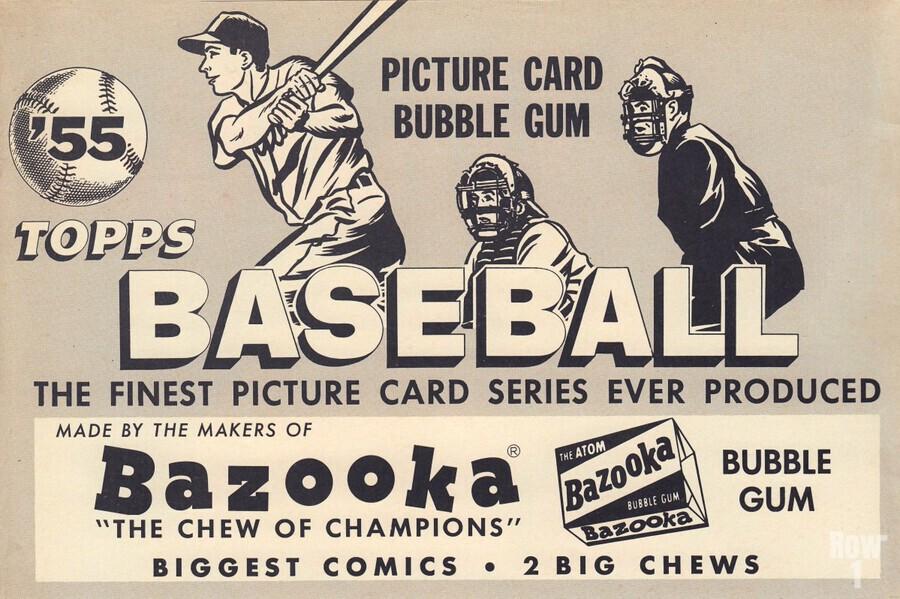 1955 Topps Baseball Bazooka Bubble Gum Vintage Metal Sign  Print