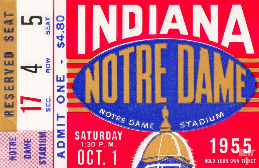 1955 indiana notre dame football ticket stub wall art canvas posters wood  Print