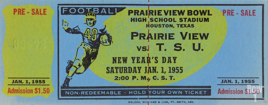 1955 Prairie View AM Panthers vs. Texas Southern Tigers Ticket Stub Art   Print