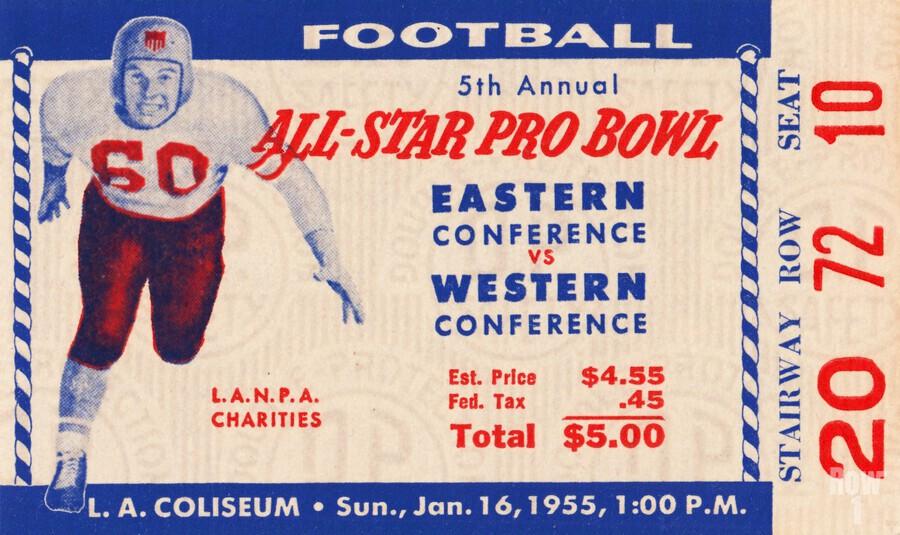 1955 Pro Bowl Football Ticket Stub Art  Print