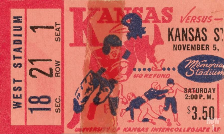 1955 university of kansas jayhawks super vintage college football art  Print