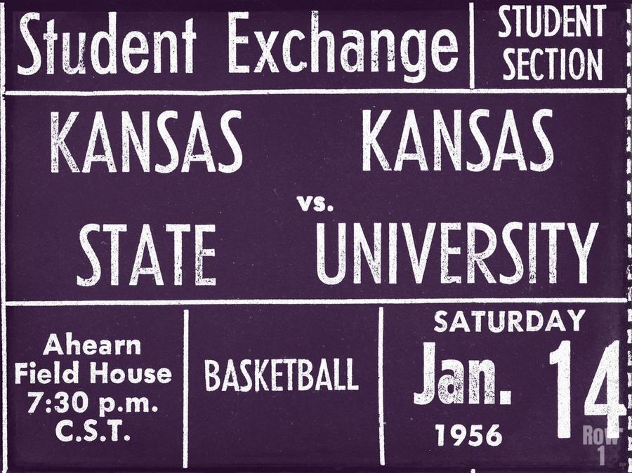 1956 Kansas State vs. Kansas Basketball Ticket Remix Art  Print
