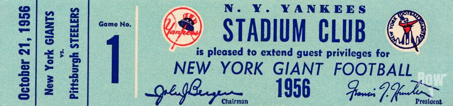 1956 new york giants football ticket stub reproduction print  Print