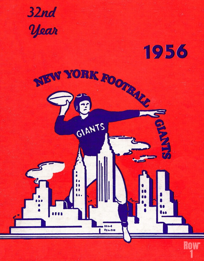 1956 new york giants vintage nfl poster  Print