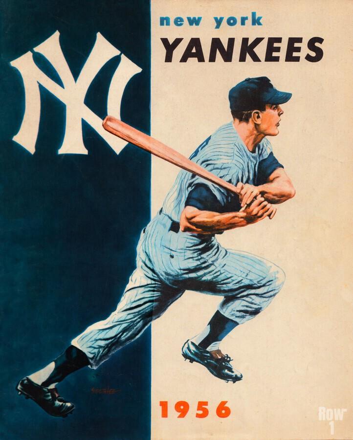 1956 new york yankees vintage baseball art  Print