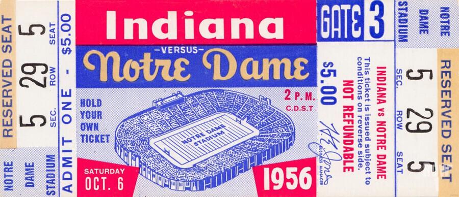 1956 Notre Dame vs. Indiana  Print