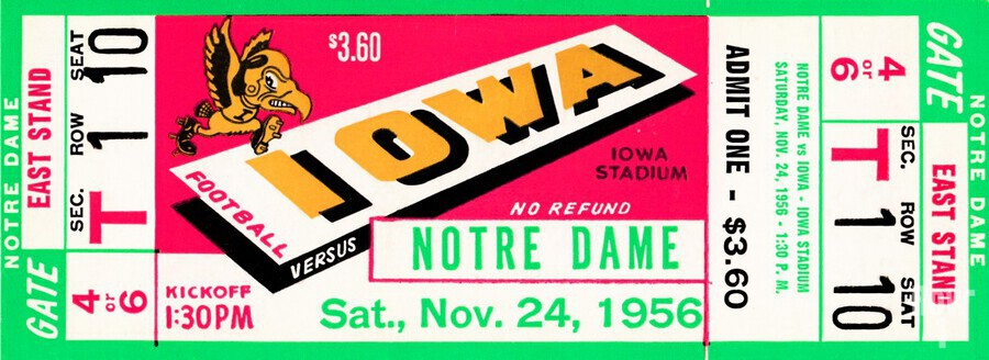 1956_College_Football_Notre Dame vs. Iowa  Print