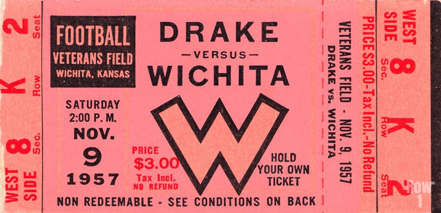 1957 drake wichita kansas college football ticket wall art  Print