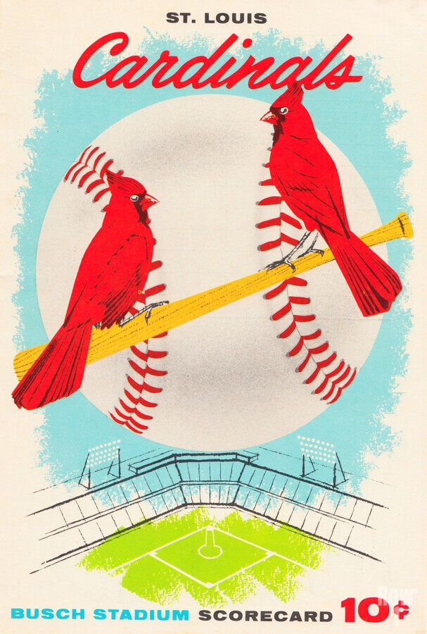 1957 st louis cardinals baseball score card wall art  Print