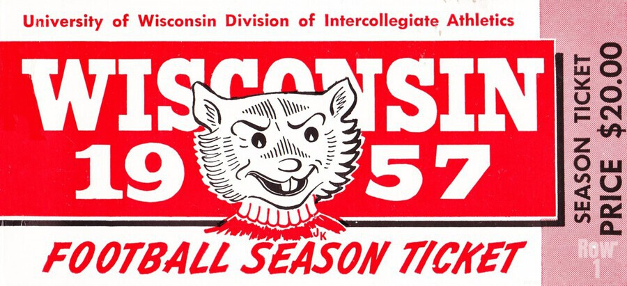 1957 Wisconsin Badgers Season Ticket  Print