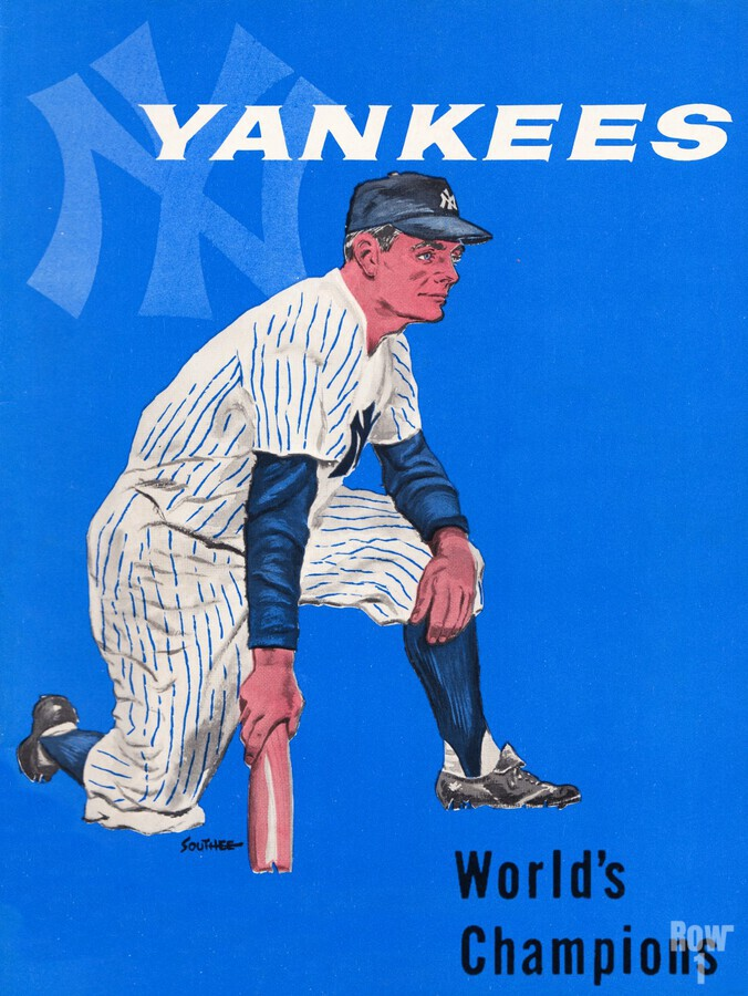 1958 New York Yankees Vintage Baseball Art  Print