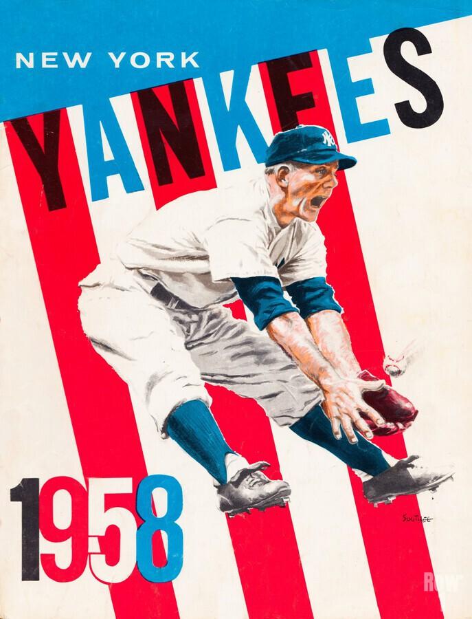 1958 new york yankees vintage baseball art  Print