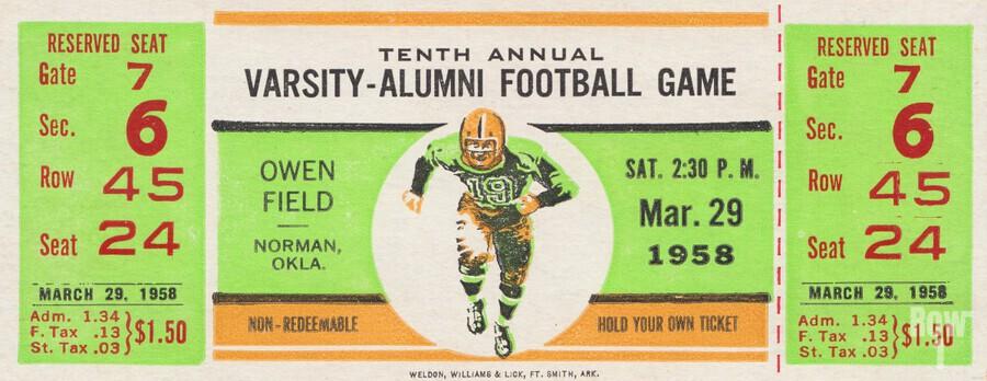 1958 Oklahoma Sooners Varsity Alumni Game  Print