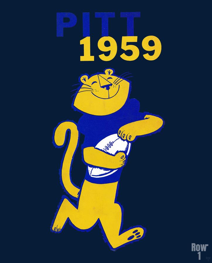 1959 Pitt Panther Vintage Football Art  Print