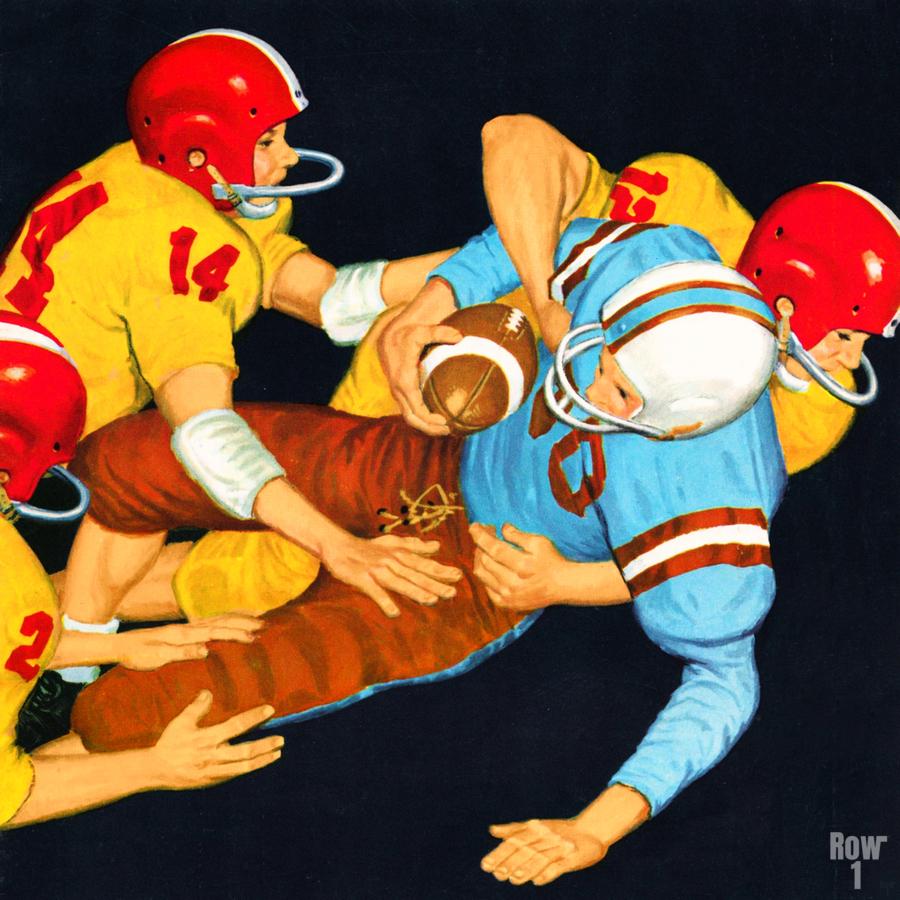 1959 Vintage Football Tackle Art   Print