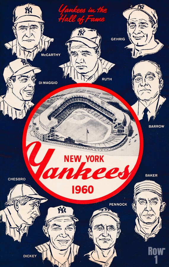 1960 New York Yankees In The Hall Of Fame Art  Print