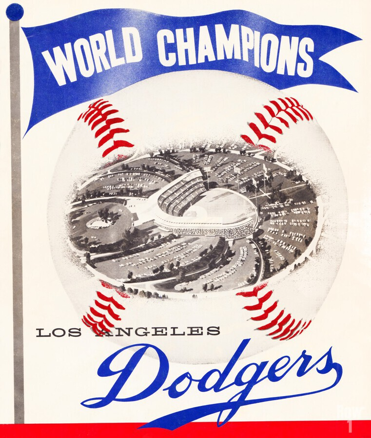 1960 Los Angeles Dodgers Baseball Art  Print