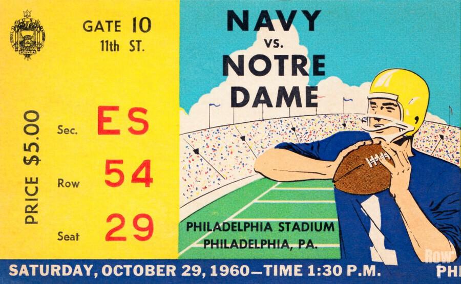 1960 navy notre dame ticket stub canvas  Print