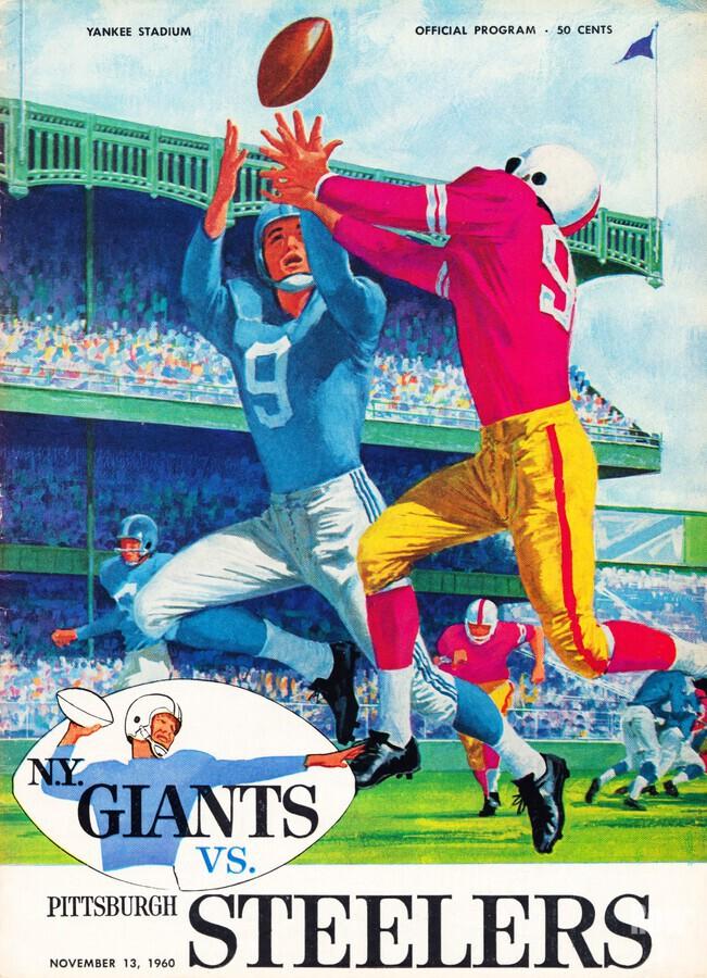 1960 new york giants program cover print on wood  Print