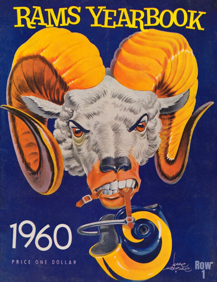 1960 nfl los angeles rams yearbook cover art price one dollar karl hubenthal  Print