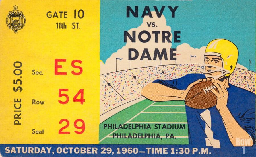 1960_College_Football_Notre Dame vs. Navy_Municipal Stadium_Row One Brand Football Art  Print