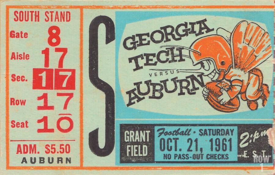 1961 Auburn Vs Georgia Tech College Football Ticket Stub Art Grant Field College Art Row One Brand